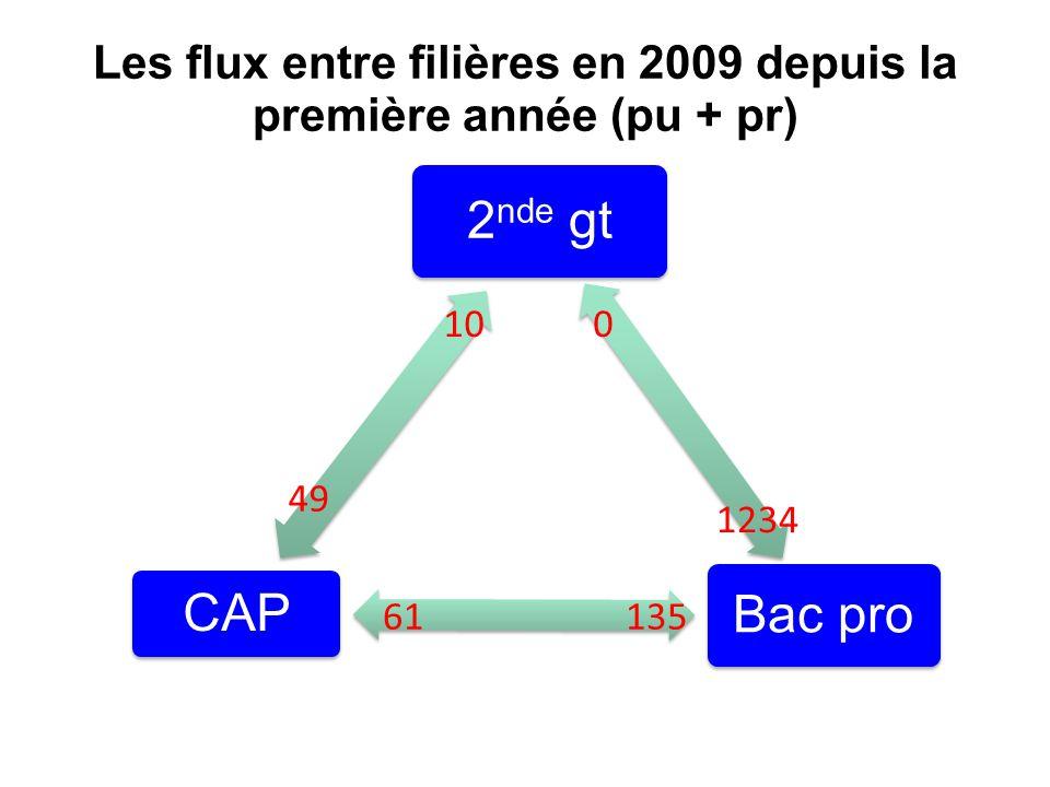 Les flux entre filières en 2009 depuis la première année (pu + pr)