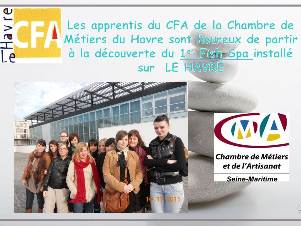 Les apprentis du CFA de la Chambre de Métiers du Havre sont heureux de partir à la découverte du 1er Fish Spa installé sur LE HAVRE