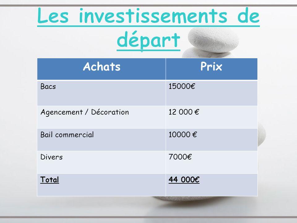 Les investissements de départ