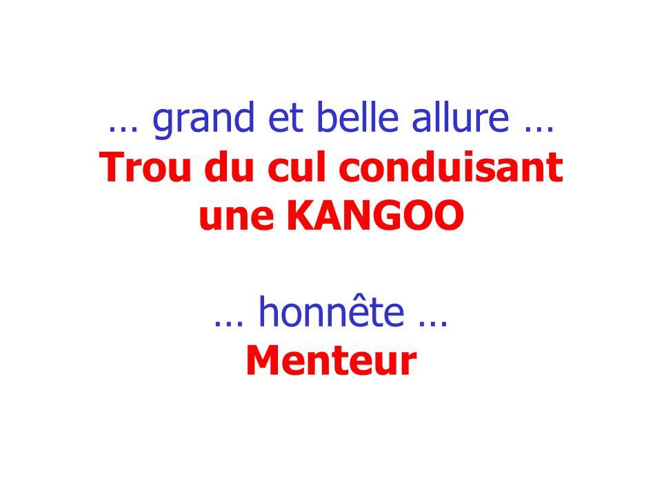 … grand et belle allure … Trou du cul conduisant une KANGOO … honnête … Menteur