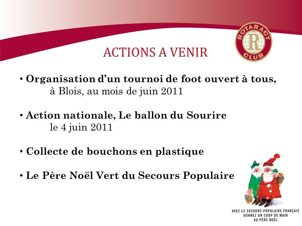 ACTIONS A VENIR Organisation d'un tournoi de foot ouvert à tous,