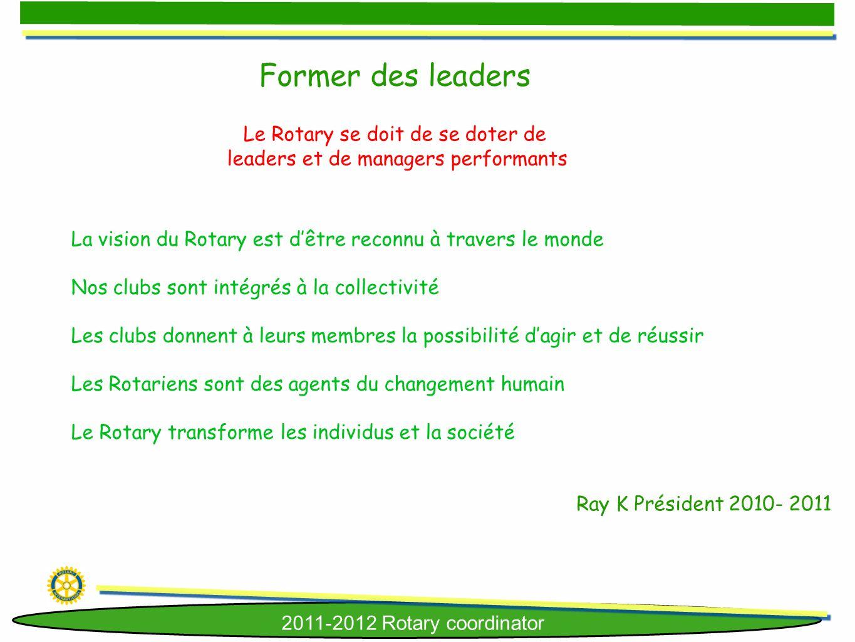 Former des leaders Le Rotary se doit de se doter de