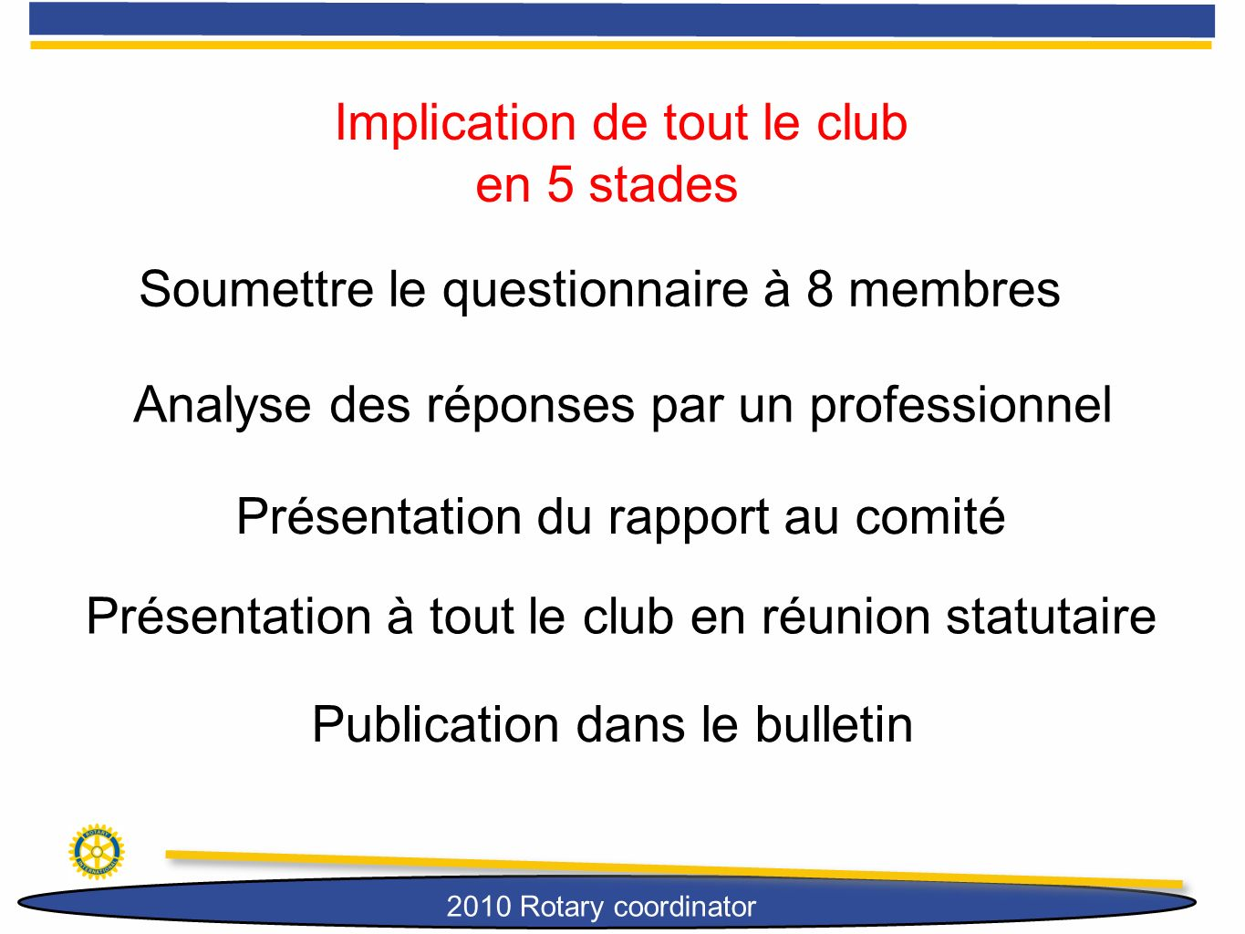 Implication de tout le club en 5 stades