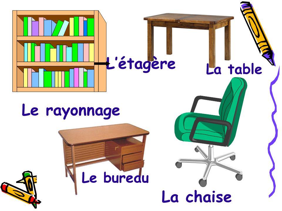 L'étagère La table Le rayonnage Le bureau La chaise