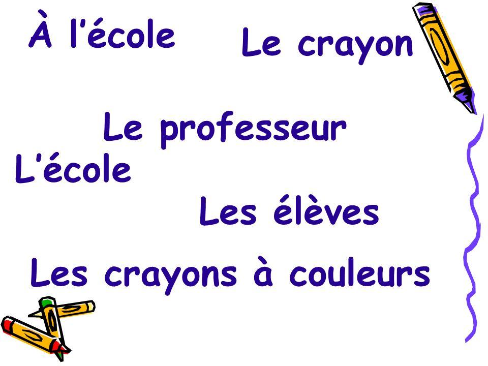 À l'école Le crayon Le professeur L'école Les élèves Les crayons à couleurs