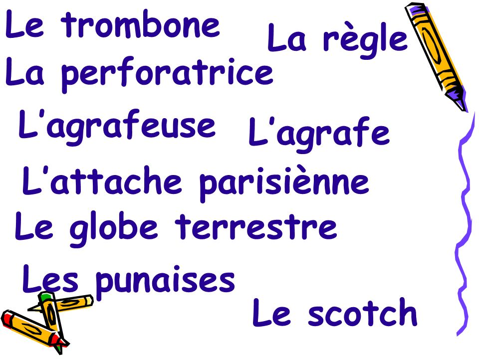 Le trombone La règle. La perforatrice. L'agrafeuse. L'agrafe. L'attache parisiènne. Le globe terrestre.