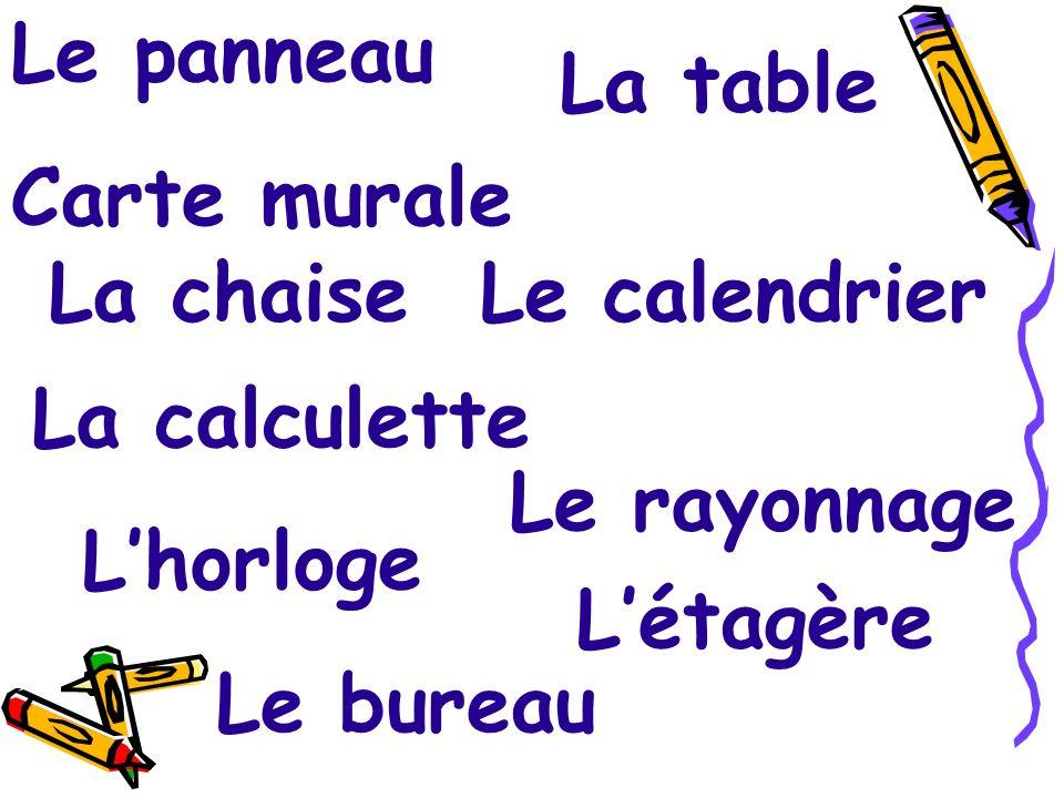 Le panneau Carte murale. La table. La chaise. Le calendrier. La calculette. Le rayonnage. L'horloge.