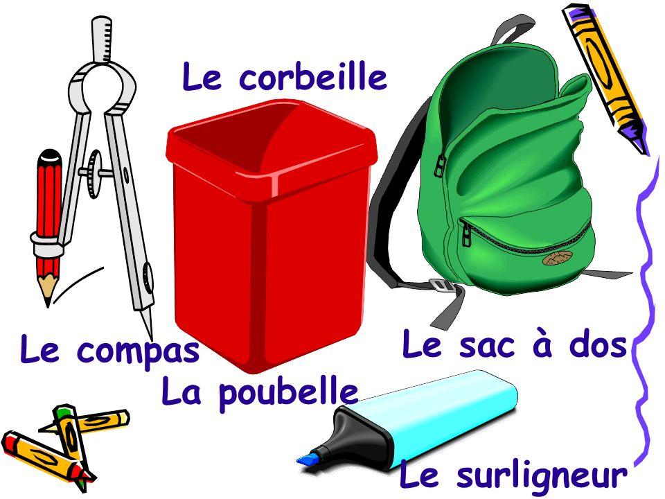 Le corbeille Le sac à dos Le compas La poubelle Le surligneur