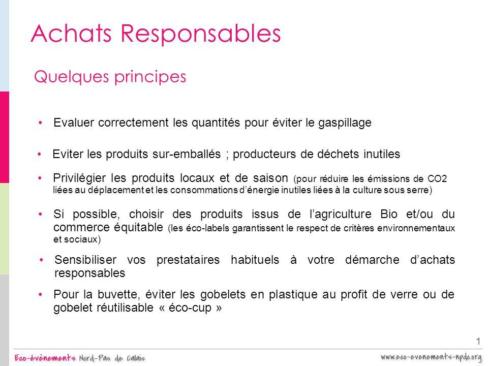 Achats Responsables Quelques principes