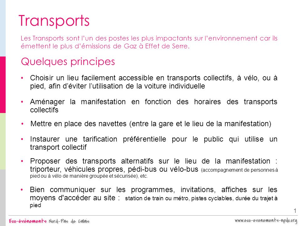 Transports Quelques principes