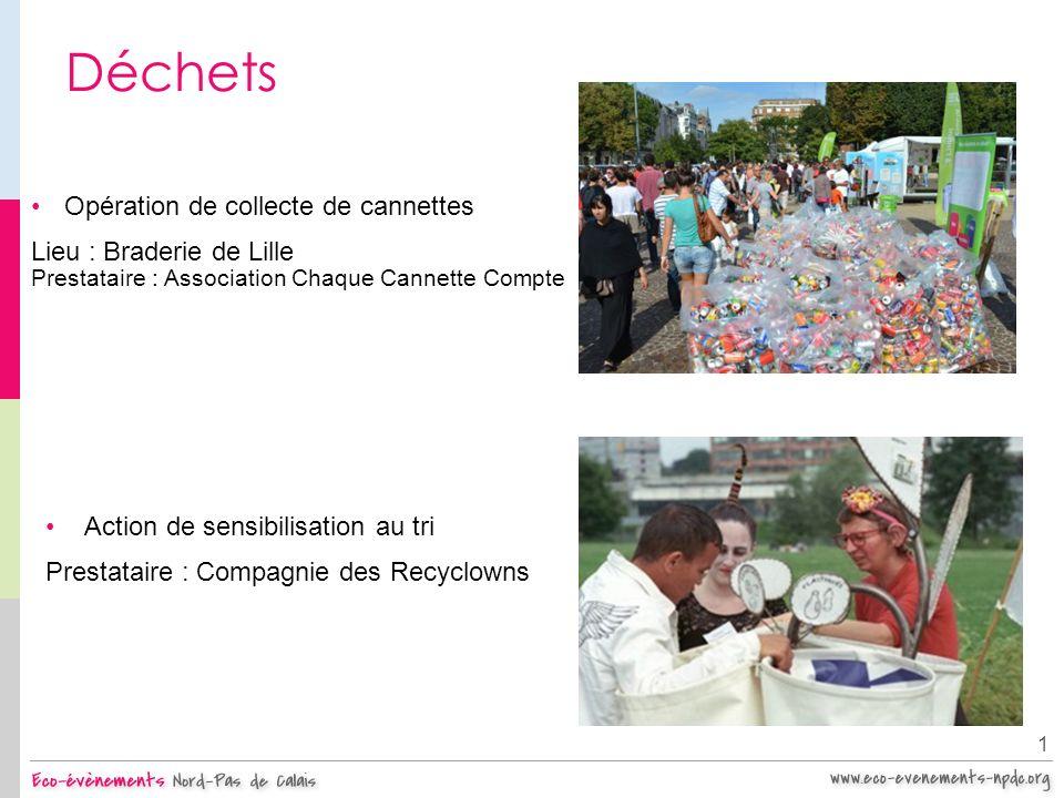 Déchets Opération de collecte de cannettes Lieu : Braderie de Lille