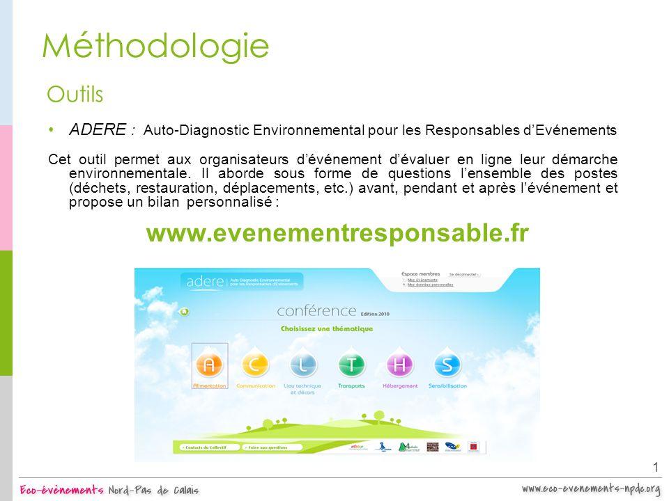 Méthodologie Outils. ADERE : Auto-Diagnostic Environnemental pour les Responsables d'Evénements.
