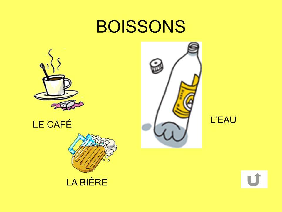BOISSONS L'EAU LE CAFÉ LA BIÈRE