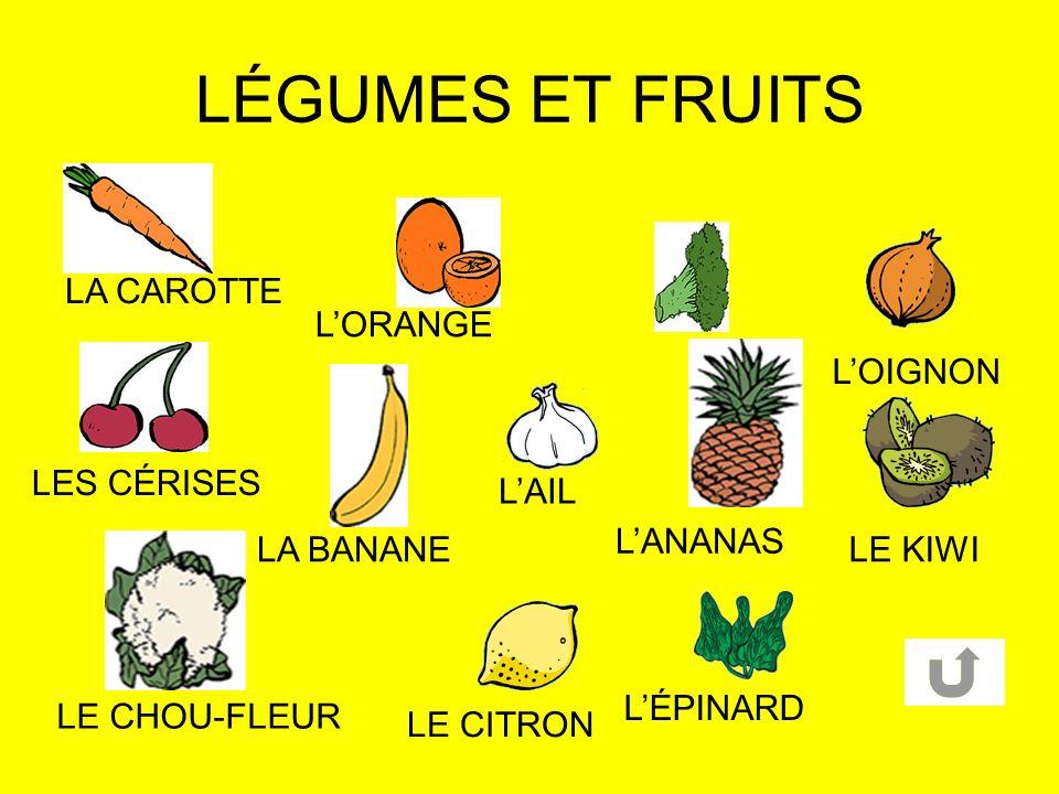 LÉGUMES ET FRUITS LA CAROTTE L'ORANGE L'OIGNON LES CÉRISES L'AIL