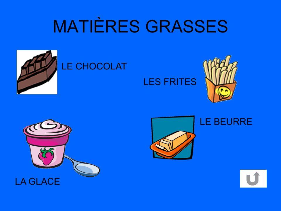 MATIÈRES GRASSES LE CHOCOLAT LES FRITES LE BEURRE LA GLACE