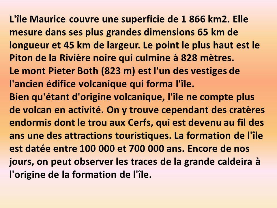 L île Maurice couvre une superficie de 1 866 km2