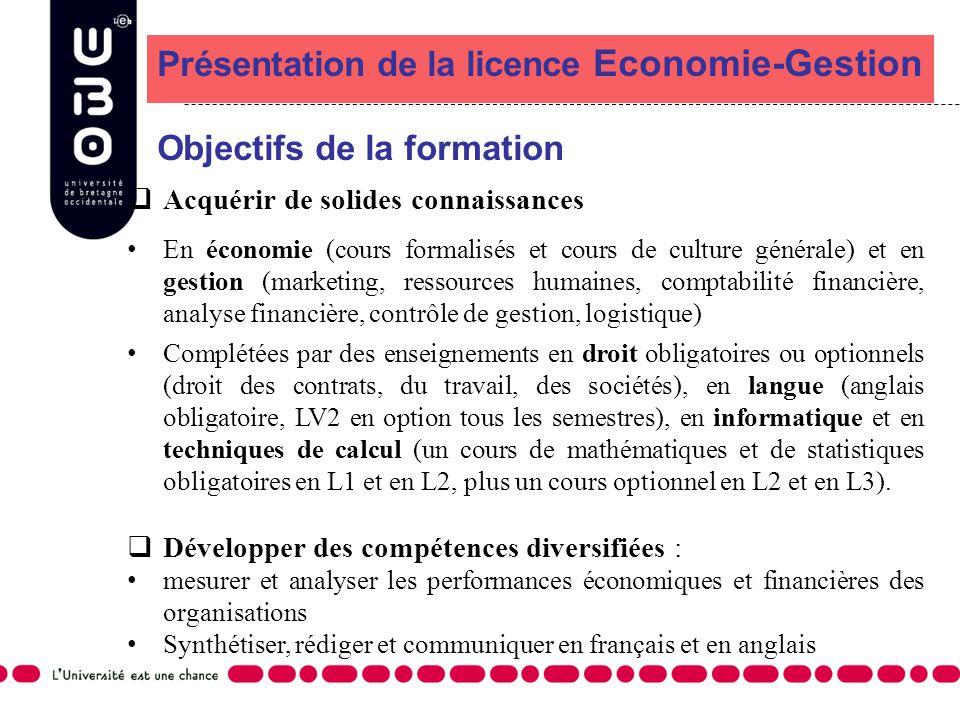 Présentation de la licence Economie-Gestion Objectifs de la formation