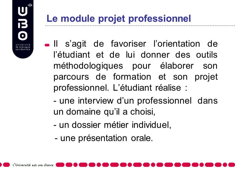 Le module projet professionnel