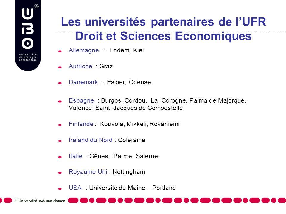 Les universités partenaires de l'UFR Droit et Sciences Economiques