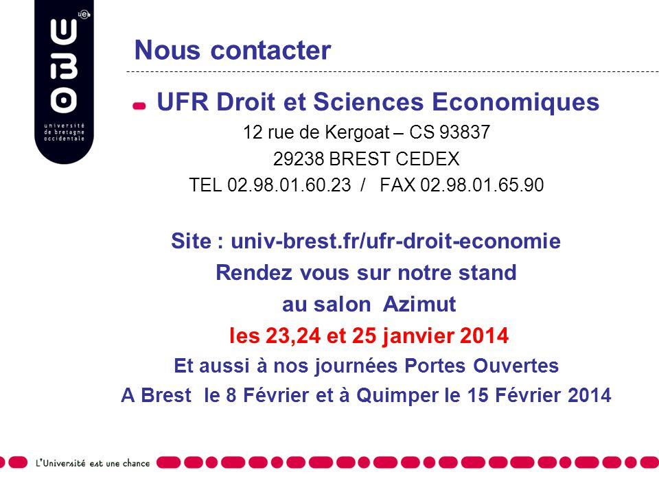 Nous contacter UFR Droit et Sciences Economiques