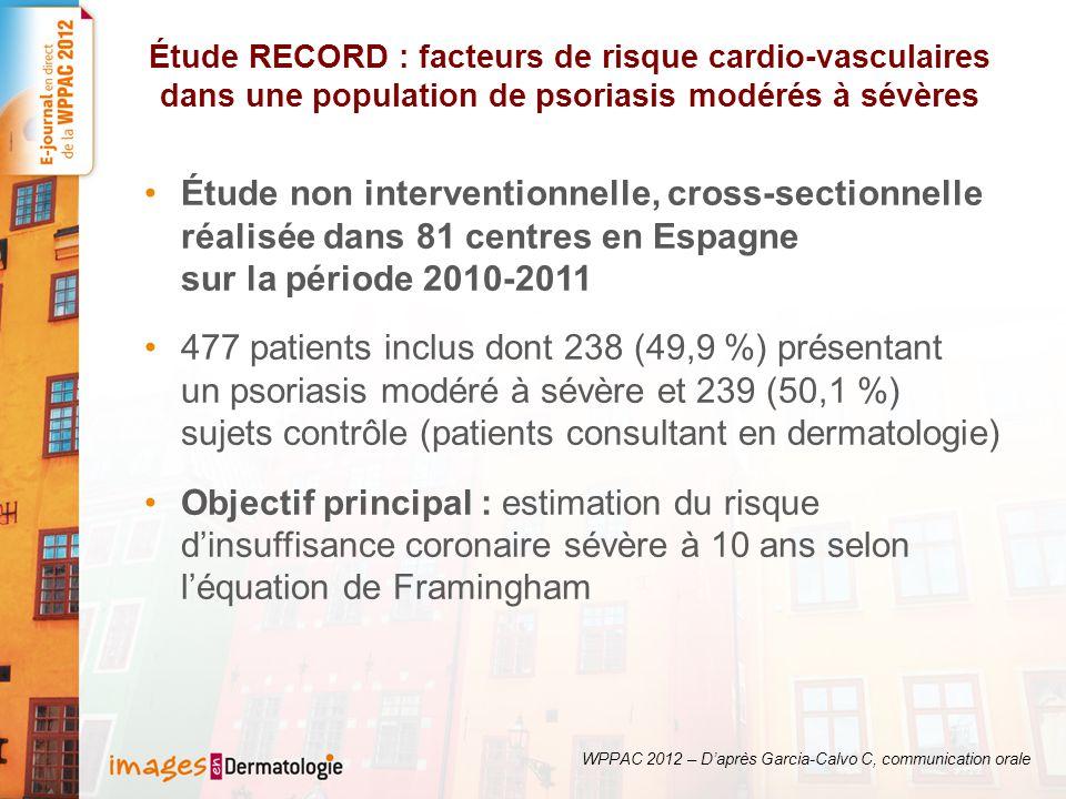 Étude RECORD : facteurs de risque cardio-vasculaires dans une population de psoriasis modérés à sévères