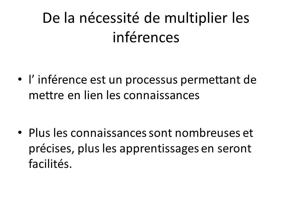 De la nécessité de multiplier les inférences
