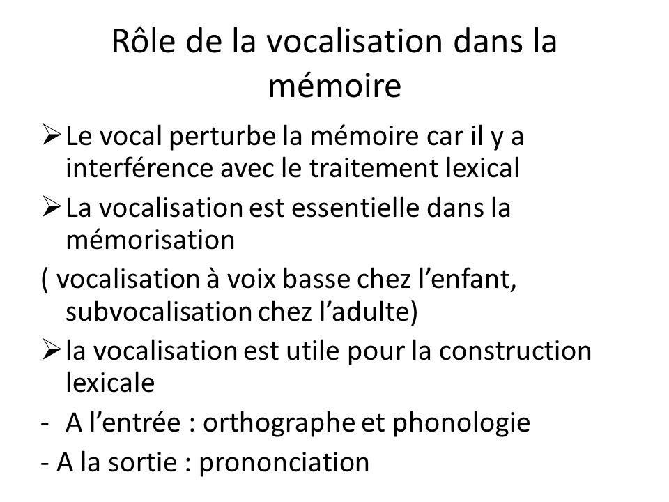 Rôle de la vocalisation dans la mémoire