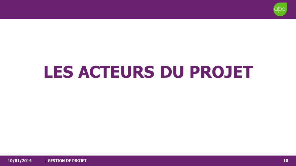 LES ACTEURS DU PROJET 25/03/2017 / GESTION DE PROJET