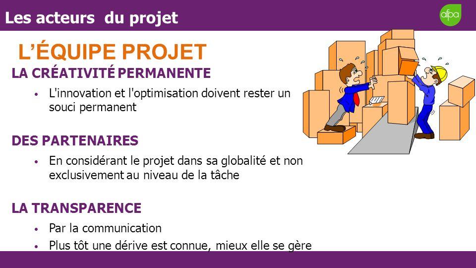 L'ÉQUIPE PROJET Les acteurs du projet LA CRÉATIVITÉ PERMANENTE