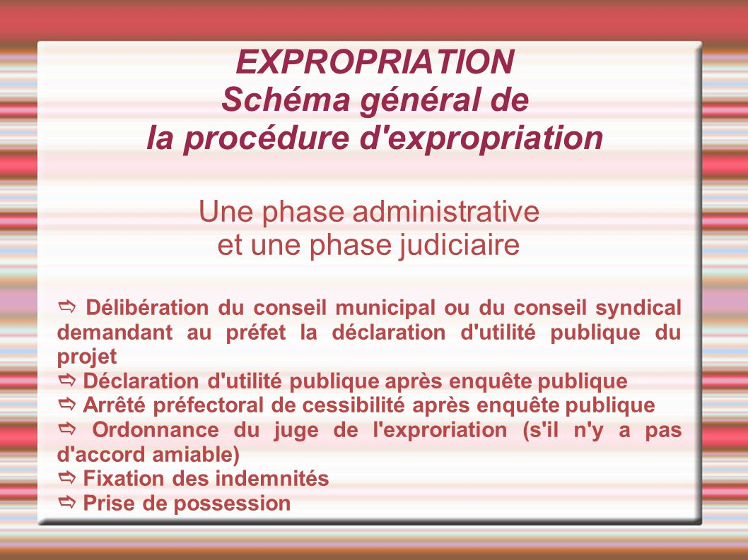EXPROPRIATION Schéma général de la procédure d expropriation