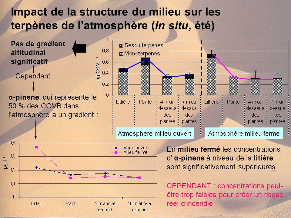 Impact de la structure du milieu sur les terpènes de l'atmosphère (In situ, été)