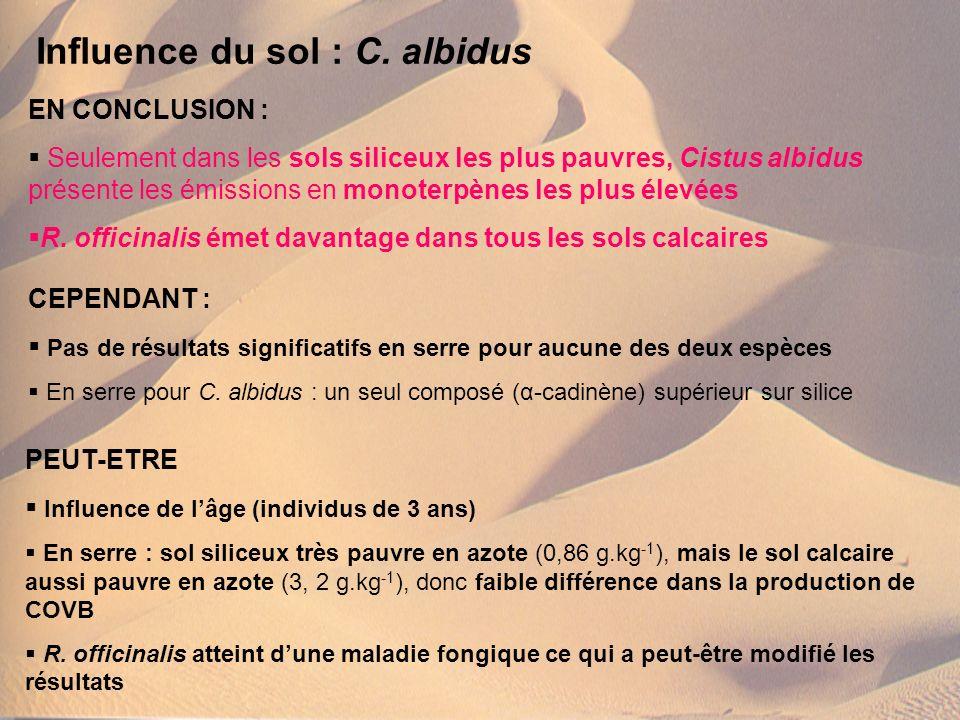 Influence du sol : C. albidus