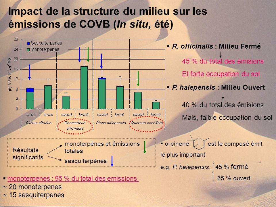 Impact de la structure du milieu sur les émissions de COVB (In situ, été)