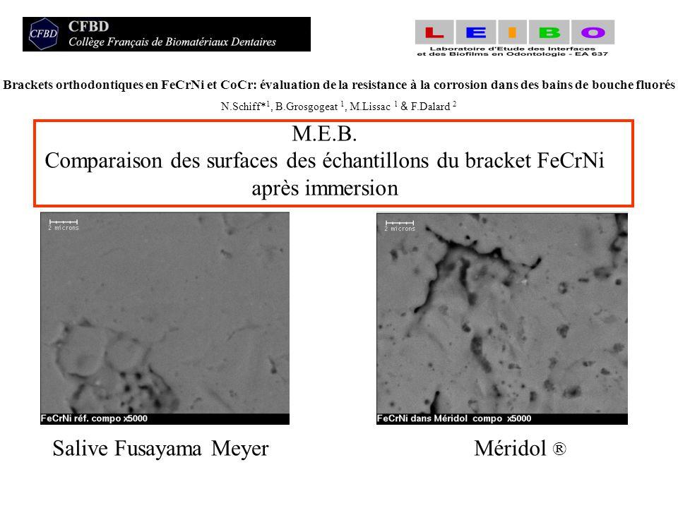 Comparaison des surfaces des échantillons du bracket FeCrNi