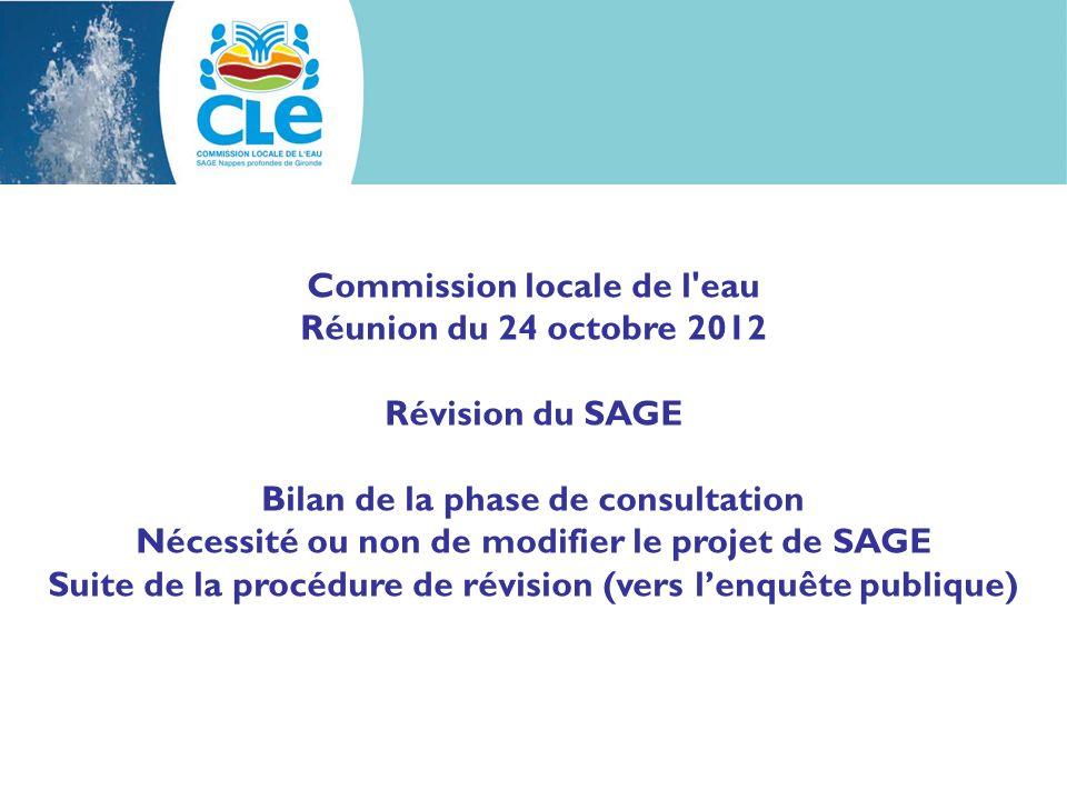 Commission locale de l eau Réunion du 24 octobre 2012 Révision du SAGE