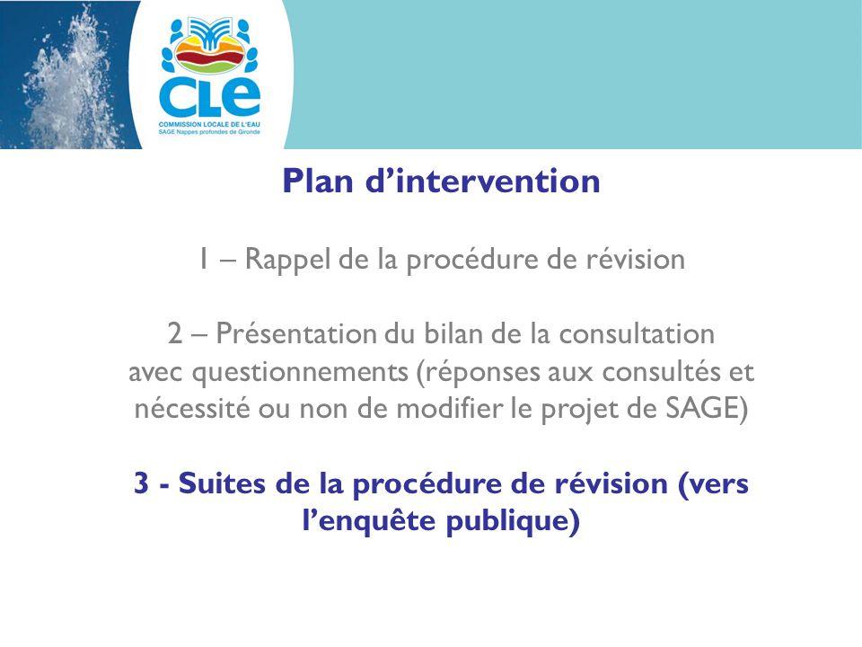 3 - Suites de la procédure de révision (vers l'enquête publique)