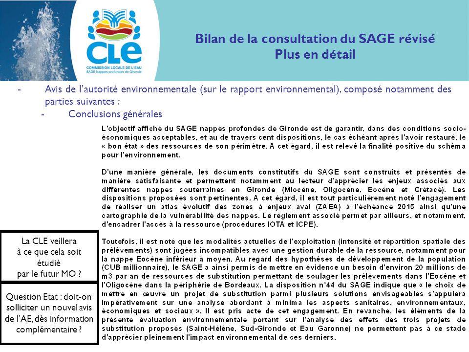 Bilan de la consultation du SAGE révisé