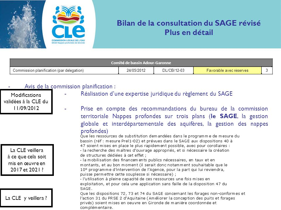 Bilan de la consultation du SAGE révisé Comité de bassin Adour-Garonne