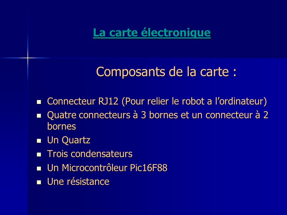 Composants de la carte :