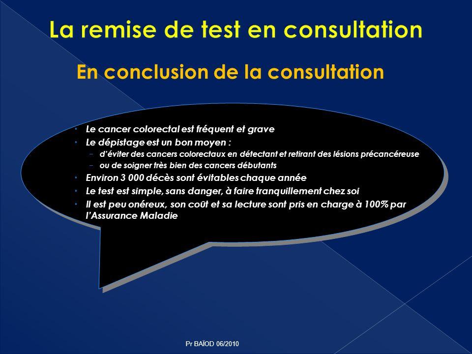 La remise de test en consultation