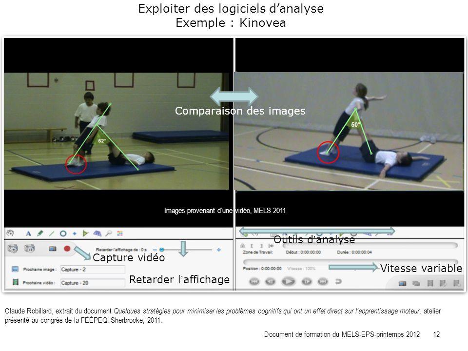 Exploiter des logiciels d'analyse Exemple : Kinovea
