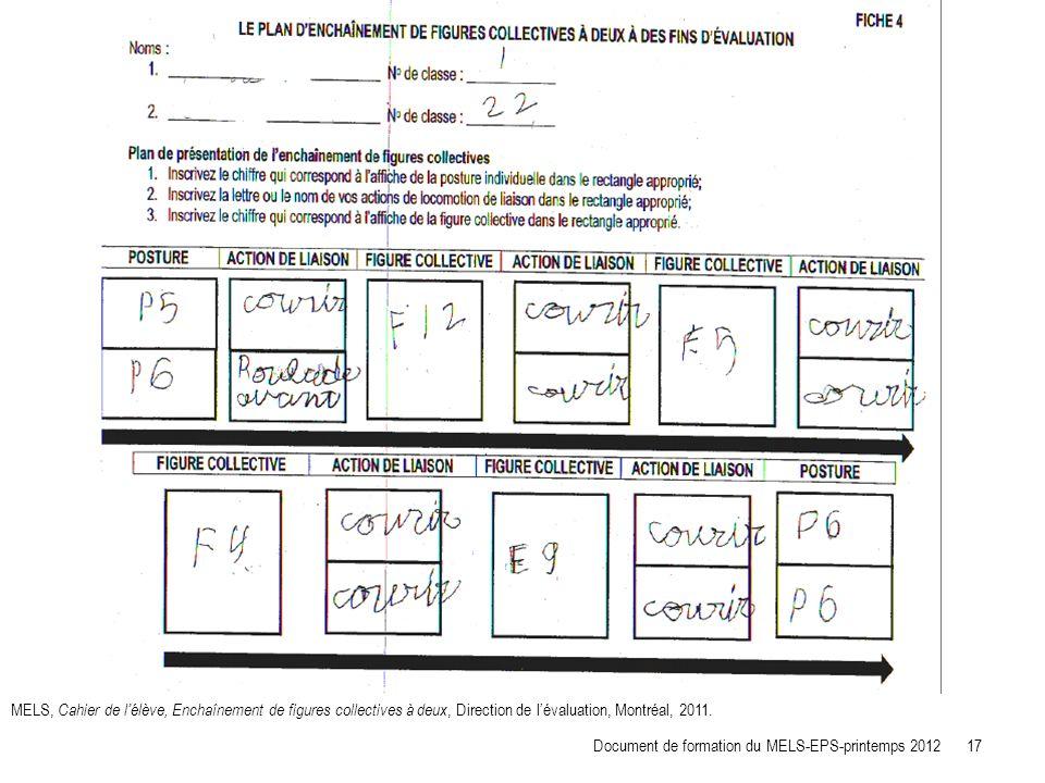 MELS, Cahier de l'élève, Enchaînement de figures collectives à deux, Direction de l'évaluation, Montréal, 2011.