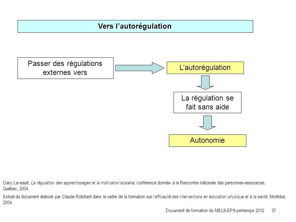 Vers l'autorégulation