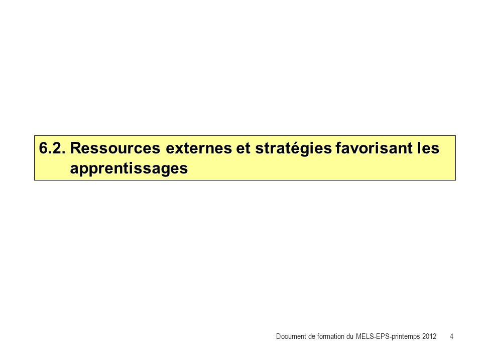 6.2. Ressources externes et stratégies favorisant les