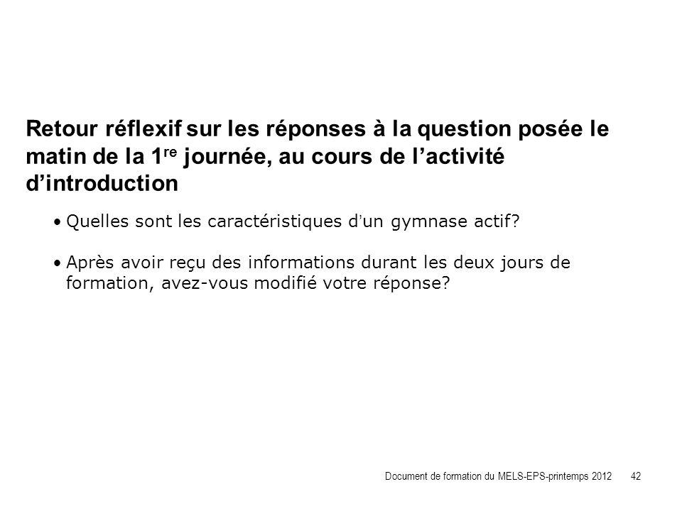 Retour réflexif sur les réponses à la question posée le matin de la 1re journée, au cours de l'activité d'introduction
