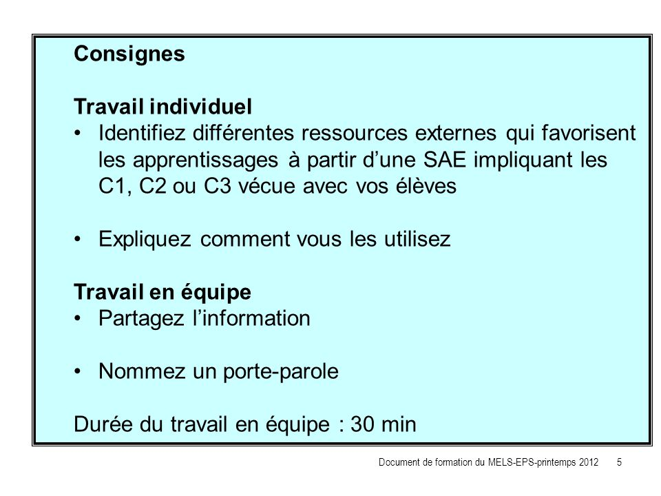 Consignes Travail individuel.