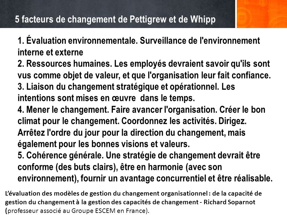 5 facteurs de changement de Pettigrew et de Whipp