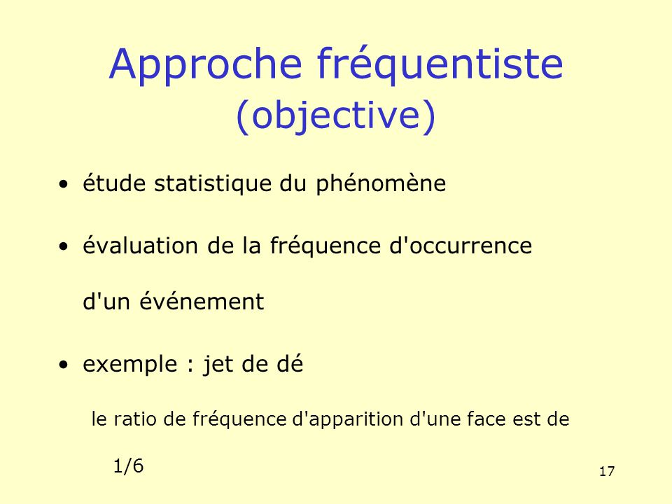 Approche fréquentiste (objective)