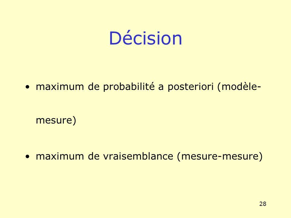 Décision maximum de probabilité a posteriori (modèle-mesure)