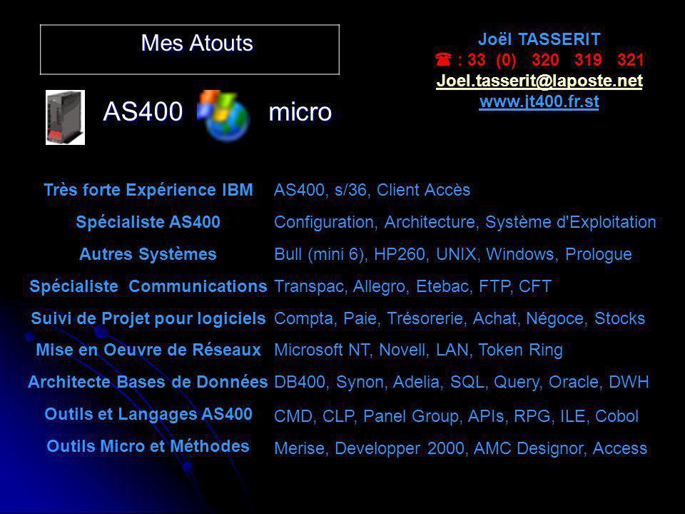 AS400 micro Mes Atouts Joël TASSERIT  : 33 (0) 320 319 321